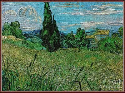 Pemaro Digital Art - Field With Cypresses 23 by Pemaro