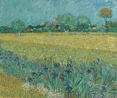 Painting - Field With Irises Near Arles Arles, May 1888 Vincent Van Gogh  1853 -890 by Artistic Panda