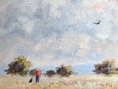 Spirit Hawk Art Painting - Field With Man And Dog by Philip Jones
