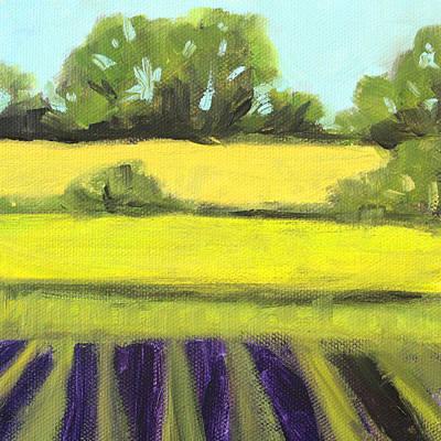 Peaceful Scene Painting - Field Work by Nancy Merkle