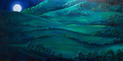 Nightscapes Painting - Fields In Moonlight by Edward Cardini