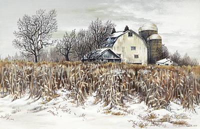 Barns In Snow Painting - Fields Of February by Carol Bonick