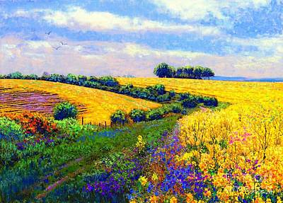 Peaceful Landscape Painting - Fields Of Gold by Jane Small