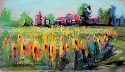 Pastel - Fields of Sunflowers  by David Garrison