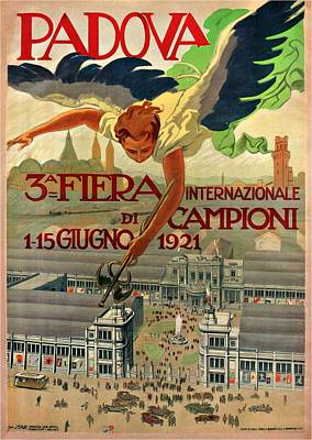 Royalty-Free and Rights-Managed Images - Fiera Internazionale Campioni, Padova, Italy - Retro travel Poster - Vintage Poster by Studio Grafiikka
