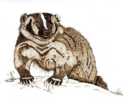 Fierce American Badger Original by Pat Sloss