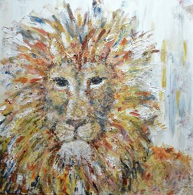 Lion And The Lamb Painting - Fierce by DoraMichele Ferguson
