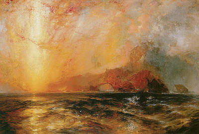 The Heavens Painting - Fiercely The Red Sun Descending Burned His Way Along The Heavens by Thomas Moran
