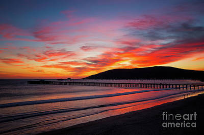 Photograph - Fiery Avila Beach Sunset by Mimi Ditchie