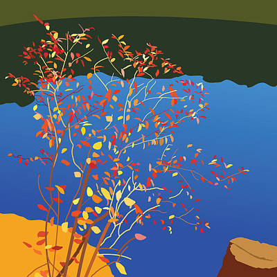 Wall Art - Painting - Fiery Bush by Marian Federspiel