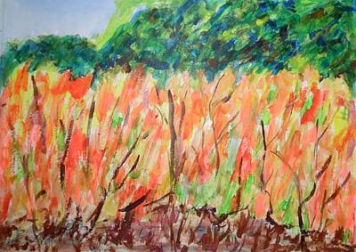 Painting - Fiery Bushes by Esther Newman-Cohen