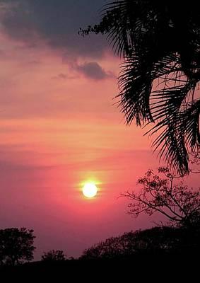 Digital Art - Fiery Costa Rica Sunset by Ellen Barron O'Reilly