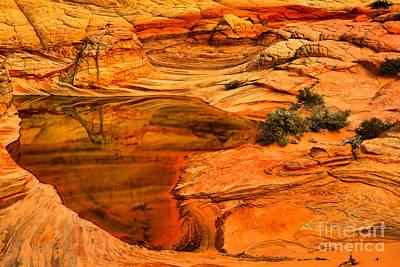 Fiery Desert Reflections Art Print