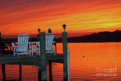 Photograph - Fiery Dock Sunset by Mary Haber