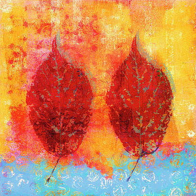 Mixed Media - Fiery Fall Color Cherry Leaves by Carol Leigh