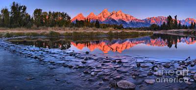 Photograph - Fiery Fall Teton Sunrise Panorama by Adam Jewell
