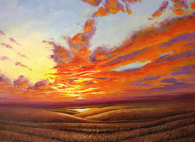 Painting - Fiery Flint Hills Sky by Rod Seel