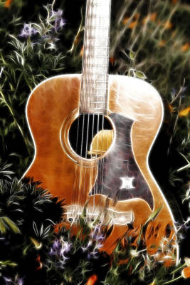 Photograph - Fiery Guitar And Flowers by Athena Mckinzie