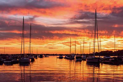 Photograph - Fiery Lake Norman Sunset by Serge Skiba