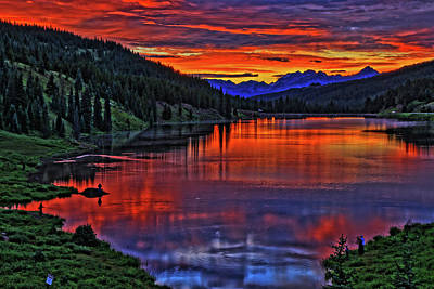 Art Print featuring the photograph Fiery Lake by Scott Mahon