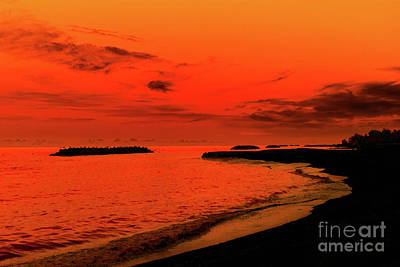 Fiery Lake Sunset Art Print