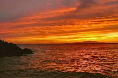 Fiery Makena Sunset Art Print by Stephen  Vecchiotti