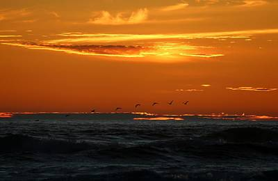 Art Print featuring the photograph Fiery Ocean Sunset by Christy Pooschke