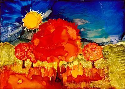 Joy Dorr Painting - Fiery Orange Autumn by Joy Dorr