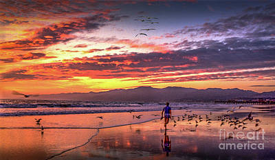 Photograph - Fiery Sunset Jog Moment In Time by David Zanzinger
