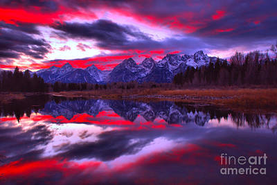 Photograph - Fiery Pink And Purple Teton Skies by Adam Jewell