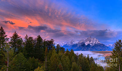 Photograph - Fiery Pink Over The Tetons by Adam Jewell