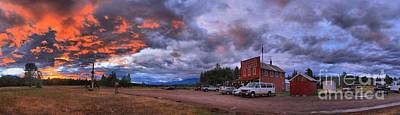 Photograph - Fiery Polebridge Sunset Panorama by Adam Jewell