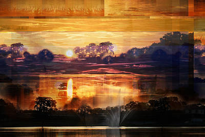 Photograph - Fiery Pond Sunset by rd Erickson
