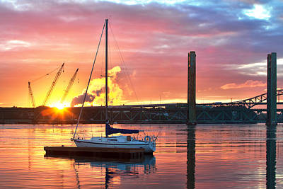 River Scenes Photograph - Fiery Portsmouth Sunset by Eric Gendron