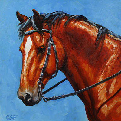 Bay Thoroughbred Horse Painting - Fiery Red Bay Horse by Crista Forest