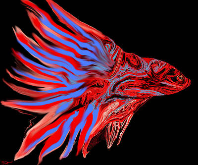 Fiery Red Betta Fish Art Print