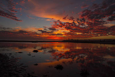 Pacific Coast Photograph - Fiery Reflection At Twin Lakes by David Levy
