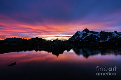 First Snow Photograph - Fiery Shuksan Sunrise Reflection by Mike Reid