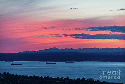 Photograph - Fiery Skies Above Kitsap Peninsula by Mike Reid