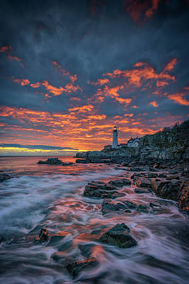 Photograph - Fiery Skies Over Portland Head Light by Rick Berk