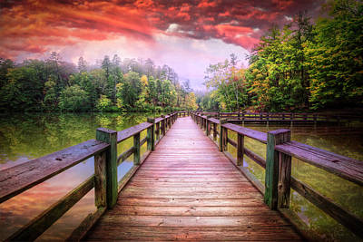 Photograph - Fiery Sky Over The Dock by Debra and Dave Vanderlaan