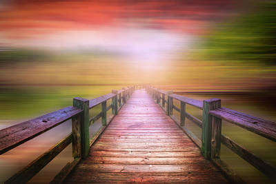 Photograph - Fiery Sky Over The Dock Dreamscape by Debra and Dave Vanderlaan