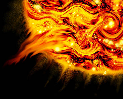 Space Digital Art - Fiery Sun Erupting With M1.7 Class Solar Flare by Abstract Angel Artist Stephen K