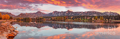 Fiery Sunrise And Alpenglow Over Estes Park - Rocky Mountain National Park Estes Park Colorado Print by Silvio Ligutti
