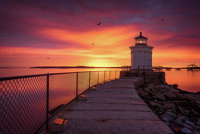 Portland Lighthouse Photograph - Fiery Sunrise - Bug Light by Jeff Bazinet