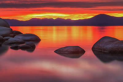 Photograph - Fiery Sunset At Sand Harbor by Marc Crumpler