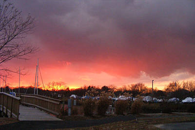 Photograph - Fiery Sunset At The Marina by Margie Avellino
