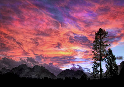 Photograph - Fiery Sunset In The Tetons by Carolyn Derstine