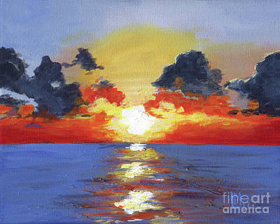 Painting - Fiery Sunset by Lisa Norris