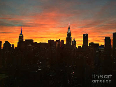 Photograph - Fiery Sunset New York With Chrysler And Empire State Buildings by Miriam Danar